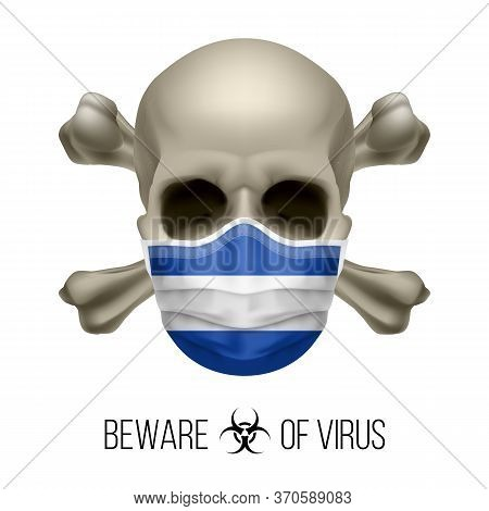 Human Skull With Crossbones And Surgical Mask In The Color Of National Flag El Salvador. Mask In For