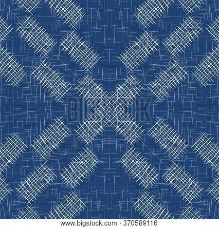 Sky Cell Handwrite Vector Seamless Pattern. Water Flannel Chevron Illustration. Fabric Stripe Backgr