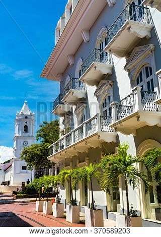 Traditional Spanish Colonial House In Casco Viejo, The Historic District Of Panama City In Central A