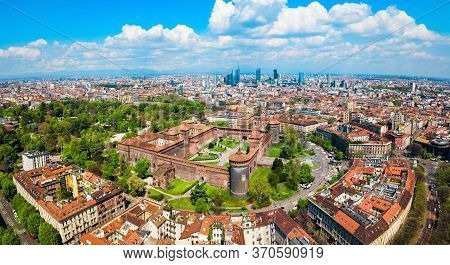 Sforza Castle Or Castello Sforzesco Aerial Panoramic View. Sforza Castle Is Located In Milan City In