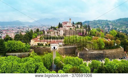 Brescia Castle Aerial Panoramic View. Castle Of Brescia Is A Medieval Castle Locate Atop Cidneo Hill