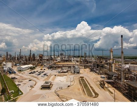 May 30, 2020 - Texas City, Texas, USA: Aerial views of an oil refinery on the Texas Gulf Coast