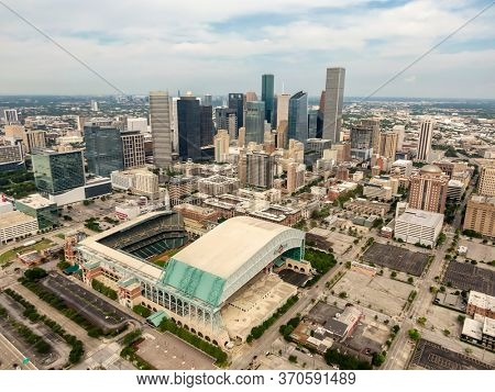May 30, 2020 - Houston, Texas, USA: Minute Maid Park is a ballpark in Downtown Houston, Texas, as the home stadium of the Houston Astros of Major League Baseball (MLB).