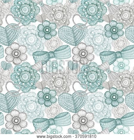 Watercolor Seamless Pattern Hobby Crochet Heart, Bow, Flower, Hook, Buttons On White Background. Sca