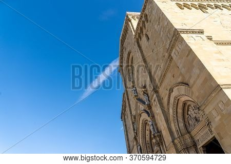 Saint Peter And Donato Cathedral In Arezzo, Arezzo Dome, With Blue Sky As Background. Arezzo Tuscany