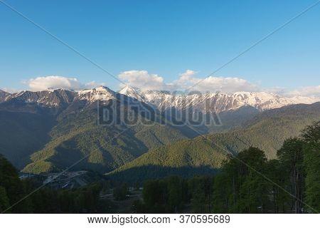 Caucasus Range Rosa Khutor Sochi April 29 2018. Mountains Near The Ski Resort Of Rosa Khutor In Kras