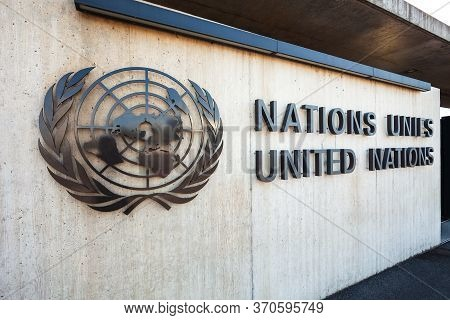 Geneva, Switzerland - July 20, 2019: United Nations Office Geneva Or Unog Is Located In The Palais D