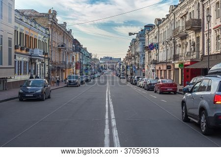 Kiev, Ukraine - March 26, 2020: Kontraktova Square In The Center Of Kiev. An Empty Street During Qua