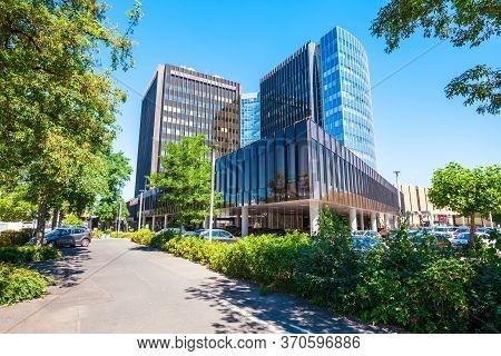 Dusseldorf, Germany - July 02, 2018: Dusseldorf Messe Trade Fair In Dusseldorf City In Germany