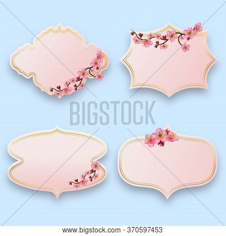 Set Of Vintage Cards Or Price Tags Elements For Design With Sakura Blossom Branch. Label And Sticker