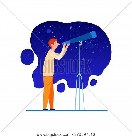 Astronomer With Telescope At Night Sky Icon. Cartoon Of Astronomer With Telescope At Night Sky Vecto