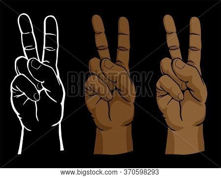 Raised Peace Sign Hand Set Including Line Art And Flesh Tone Versions Isolated Vector Illustration