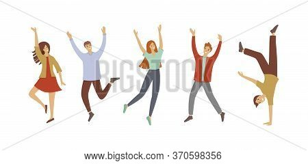 Happy Jumping Office Young People Icon. Cartoon Of Happy Jumping Office Young People Vector Icon For