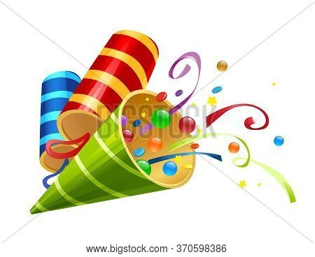 Vector Illustration Of Festive Clapper Bright Colors With Candy And Hat Cap