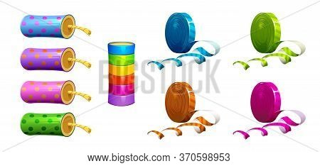 Vector Set Of Firecrackers And Colorful Ribbons For The Holiday