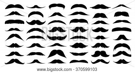 Mustache Collection. Vintage Moustache Isolated On White. Facial Hair. Hipster Beard. Vector Illustr