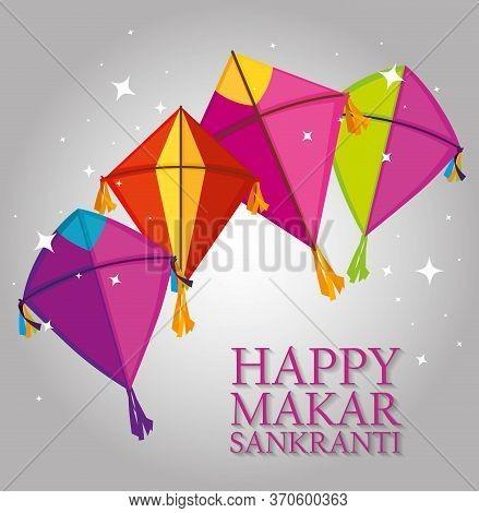 Kites Style To Makar Sankranki Celebration Vector Illustration