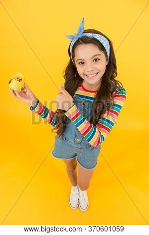 This Should Be Fine. Cheerful Carefree Childhood. Retro Girl Hold Easter Cake. Cute Little Girl With