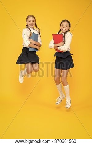 Bring Child School Few Days Prior Play Playground And Get Comfortable. Cheerful School Girls. Back T