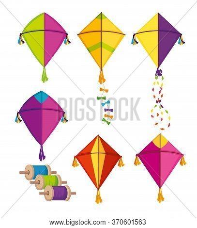 Set Makar Sankranti Kites To Festival Celebration Vector Illustration