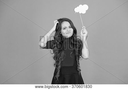 Girl Hold Empty Speech Bubble Copy Space. Text Bubble Concept. Remembering. Childhood Memories. Spee