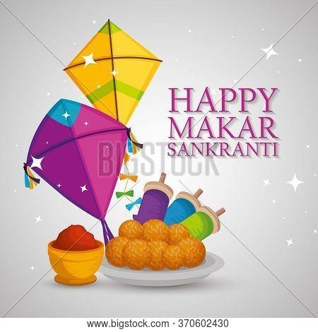 Happy Makar Sankranti With Kites And Food Vector Illustration