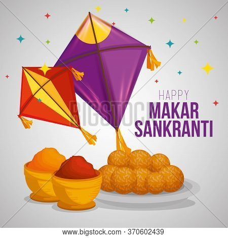Kites And Food To Makar Sankranti Ceremony Vector Illustration