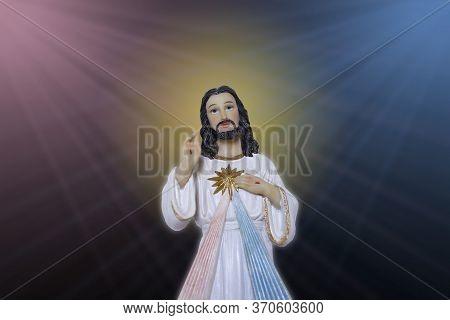 Statue Representing The Merciful Jesus Christ, Divine Mercy - Catholic Symbol