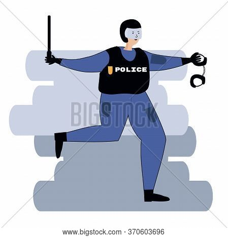 Angry Cop With A Baton Stalks. Vector Illustration Drawing In Flat Style. Isolated Illustration On A