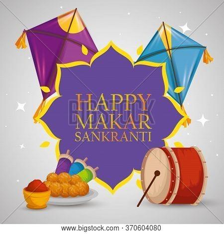 Makar Sankranti Emblem With Food And Kites Vector Illustration