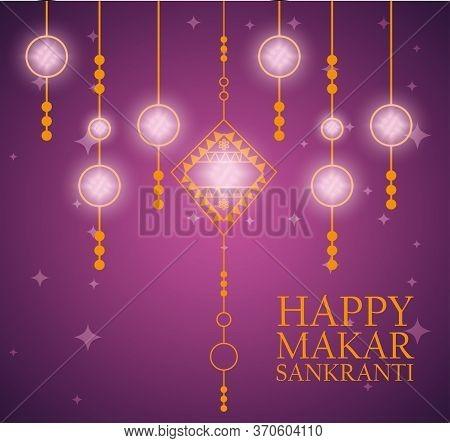 Makar Sankranti Decoration Lights Hanging Vector Illustration