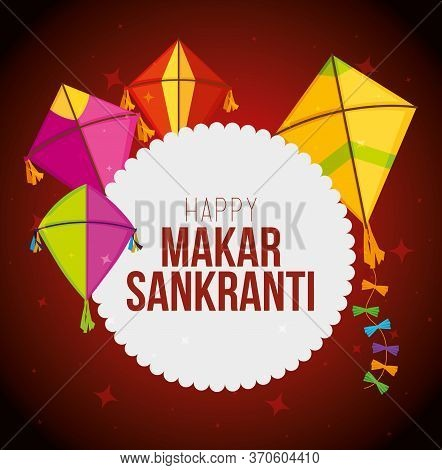 Makar Sankranti Sticker With Kites Style Vector Illustration