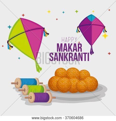 Kites And Food To Makar Sankranti Cerlebration Vector Illustration