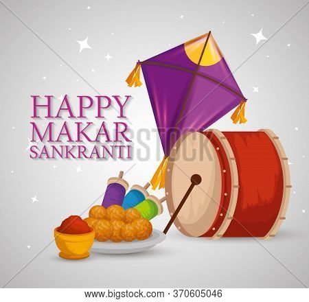 Makar Sankranti With Drum And Kites With Food Vector Illustration