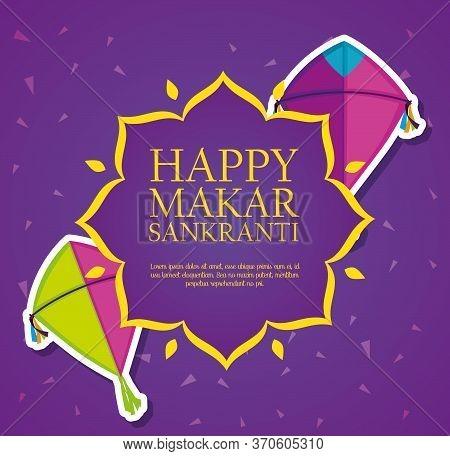 Kites Style To Celebrate Makar Sankranti Vector Illustration