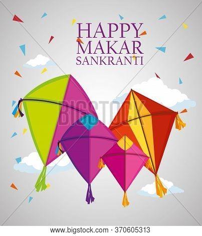 Happy Makar Sankranti Ceremony With Kites Vector Illustration