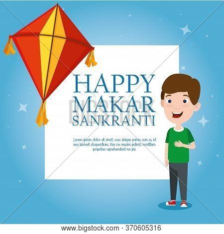 Boy With Kite To Celebrate Makar Sankranti Event Vector Illustration