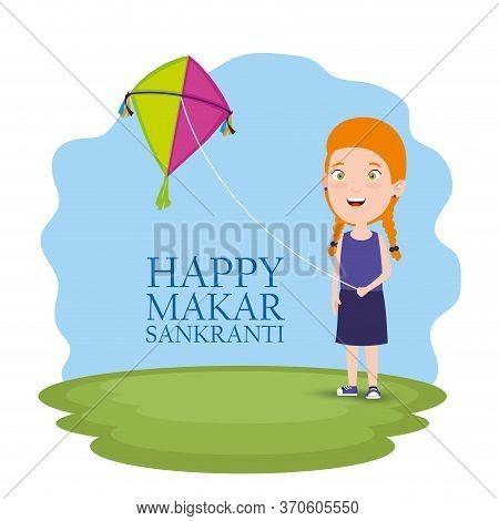 Girl With Kite To Celebrate Makar Sankranti Festival Vector Illustration