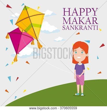 Girl And Kites To Celebrate Makar Sankranti Vector Illustration