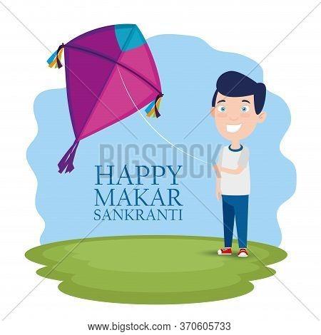 Boy With Kite To Celebrate Makar Sankranti Vector Illustration