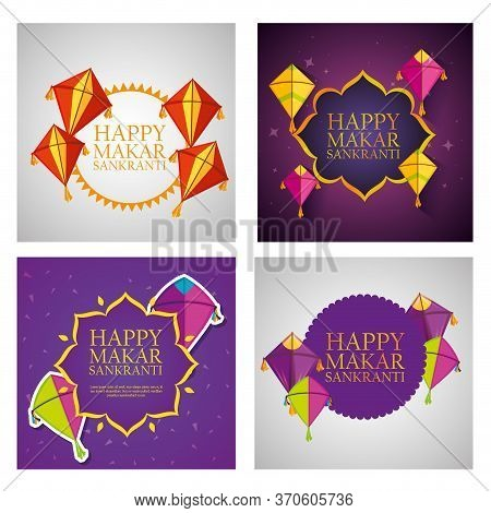 Set Makar Sankranti Celebration With Kites And Decoration Vector Illustration