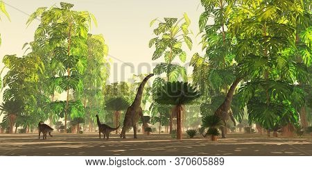 Argentinosaurus Herd Eating 3d Illustration - A Cycad And Monstera Deliciosa Forest In The Cretaceou