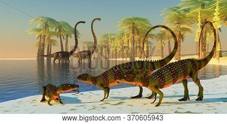 Omeisaurus Dinosaur Pond 3d Illustration - Three Armored Scutellosaurus Dinosaurs Lounge Around The
