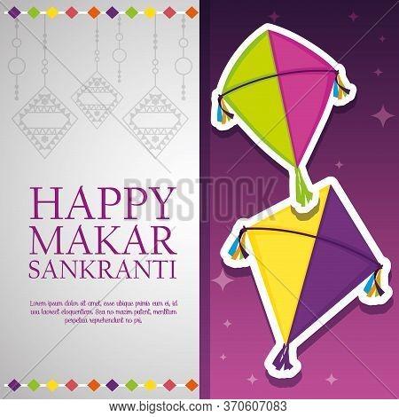 Happy Makar Sankranti Celebration With Kites Vector Illustration
