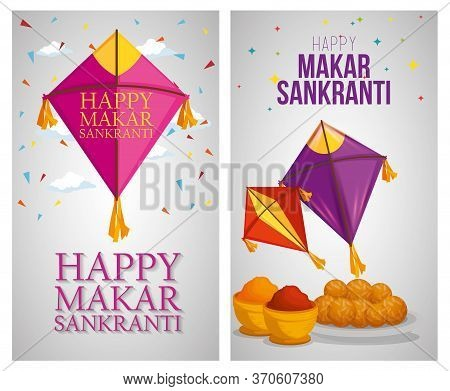 Set Kites And Food To Celebrate Makar Sankranti Vector Illustration