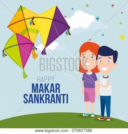 Boy And Girls With Kites To Celebrate Makar Sankranti Vector Illustration