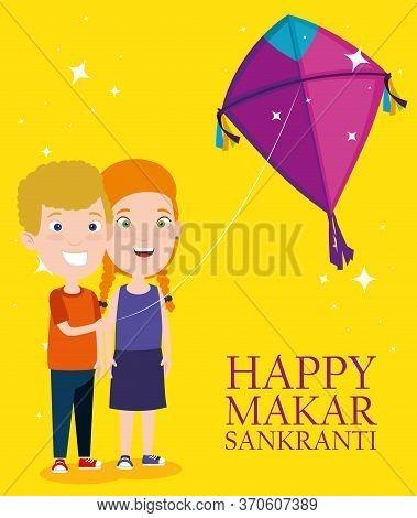 Boy And Girl With Kite To Celebrate Makar Sankranti Vector Illustration
