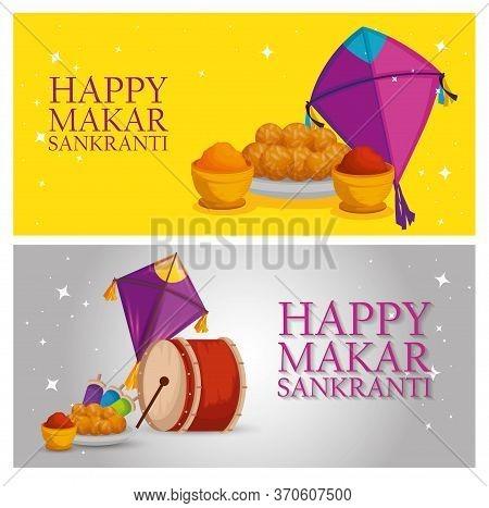 Set Makar Sankranti Celebration With Food And Drum Vector Illustration