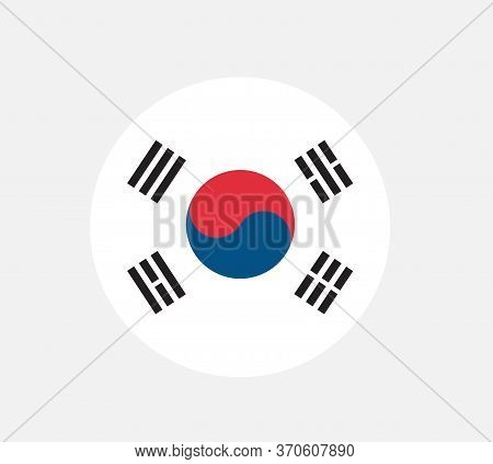 Round Glossy Button With Flag Of South Korea. South Korea Flag Made With Official Korean National Co