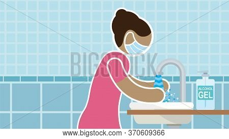 Simplified Drawing Of Woman Wearing Blue Protective Face Mask In Profile Washing Her Hands In Bathro
